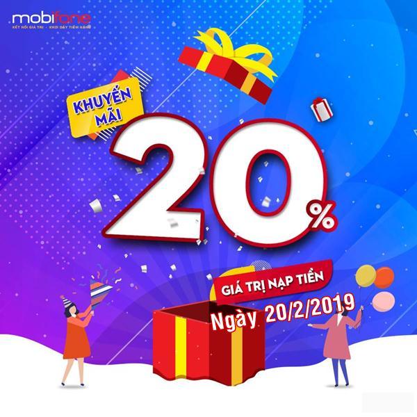 Mobifone khuyến mãi ngày 20/2/2019 tặng 20% thẻ nạp toàn quốc