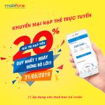 Mobifone khuyến mãi ngày 31/5/2019 nạp tiền trực tuyến