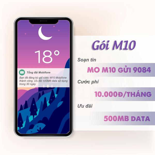 Đăng ký gói M10 Mobifone nhận ưu đãi 500MB data chỉ với 10k/tháng