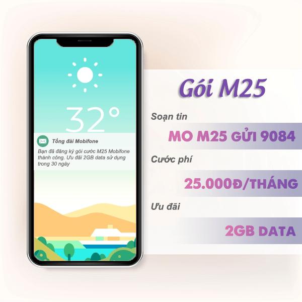 Đăng ký gói M25 Mobifone ưu đãi 2GB data tốc độ cao