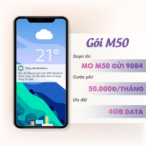 Đăng ký gói cước M50 Mobifone nhận ngay ưu đãi 4GB data chỉ với 50k/tháng