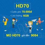 Đăng ký gói cước HD70 Mobifone nhận ngay 6GB data tốc độ cao chỉ với 70.000đ