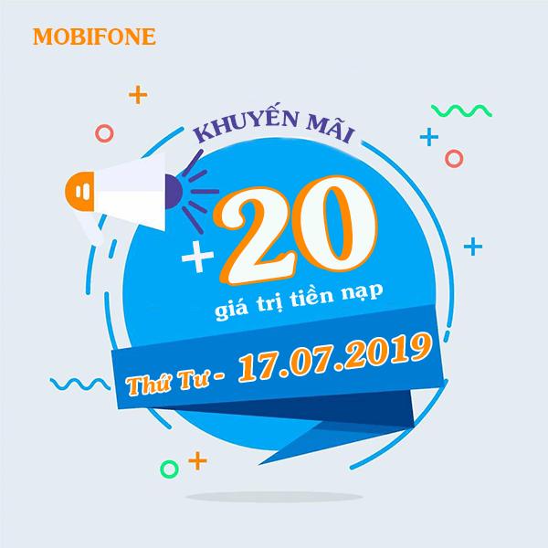 Khuyến mãi Mobifone ngày 17/7/2019 tặng 20% thẻ nạp toàn quốc