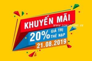 Mobifone khuyến mãi ngày 21/8/2019 tặng 20% Ngày Vàng
