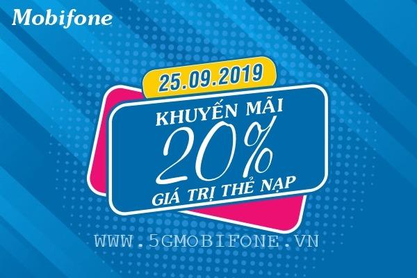 Khuyến mãi Mobifone ngày 25/9/2019 tặng 20% thẻ nạp