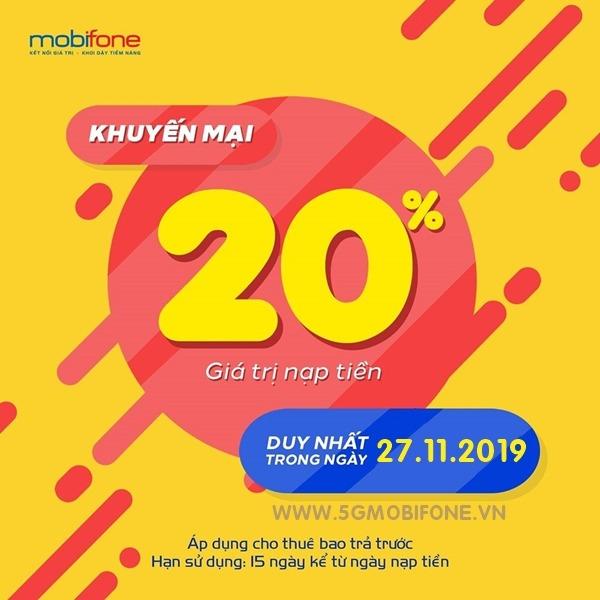 Mobifone khuyến mãi ngày 27/11/2019 tặng 20% thẻ nạp