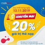 Mobifone khuyến mãi ngày 13/11/2019 ưu đãi 20% thẻ nạp toàn quốc