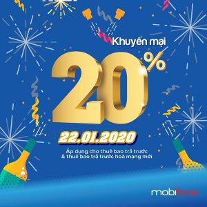 Mobifone khuyến mãi ngày 22/1/2020 tặng 20% thẻ nạp toàn quốc