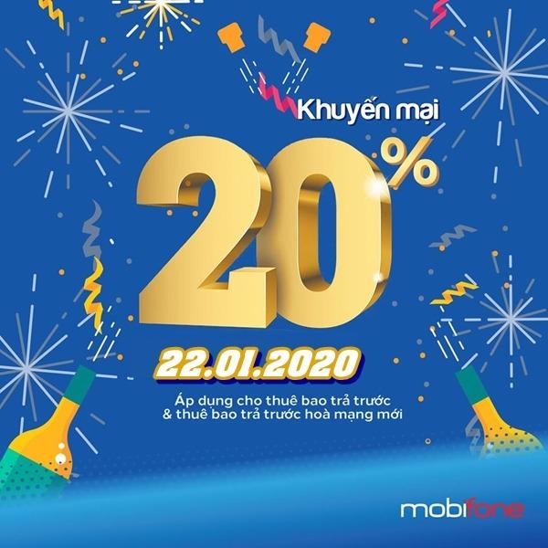 Mobifone khuyến mãi ngày 22/1/2020 tặng 20% thẻ nạp