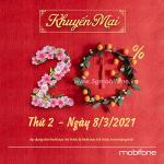 Khuyến mãi Mobifone 8/3/2021 NGÀY VÀNG tặng 20% giá trị tiền nạp