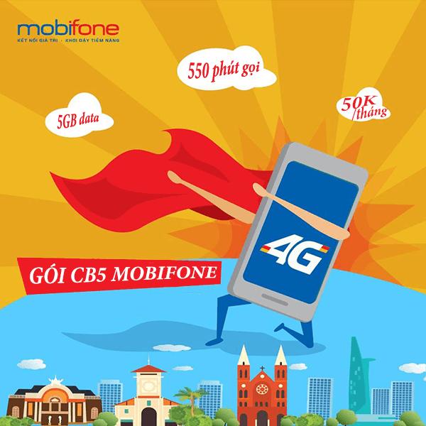 Đăng ký gói CB5 Mobifone nhận ngay 5GB data và 550 phút gọi chỉ 50.000đ