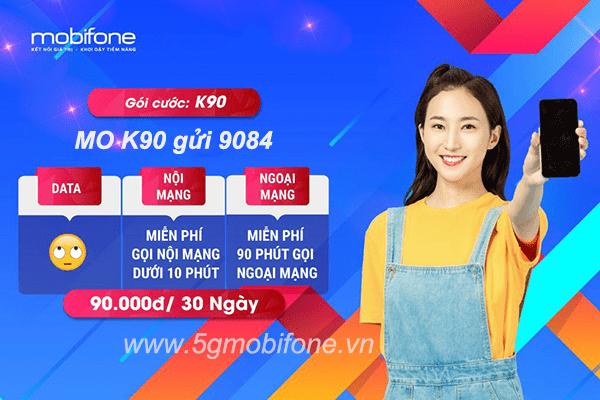Đăng ký gói K90 Mobifone ưu đãi miễn phí tất cả cuộc gọi nội mạng và gọi ngoại mạng