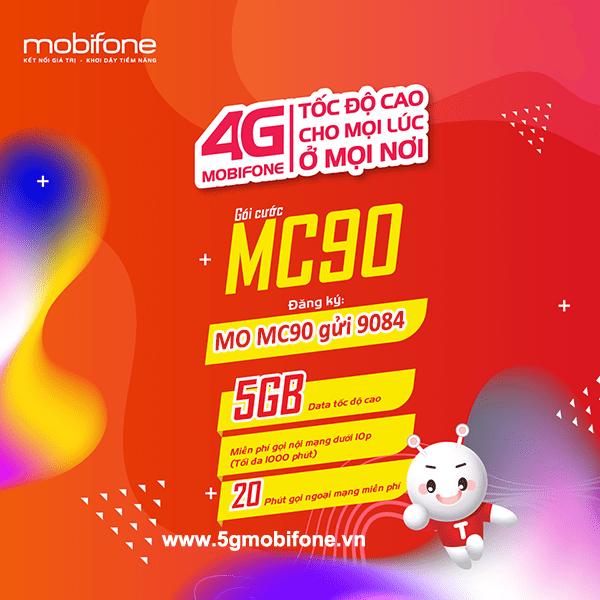 Đăng ký gói cước MC90 Mobifone ưu đãi 5GB data + Free gọi thoại