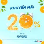 Mobifone khuyến mãi 12/7/2021 NGÀY VÀNG tặng 20% giá trị tiền nạp